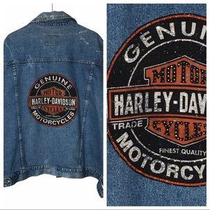 Harley Davidson Biker Bling Rhinestone Jean Denim Jacket One of a Kind 3X XXXL